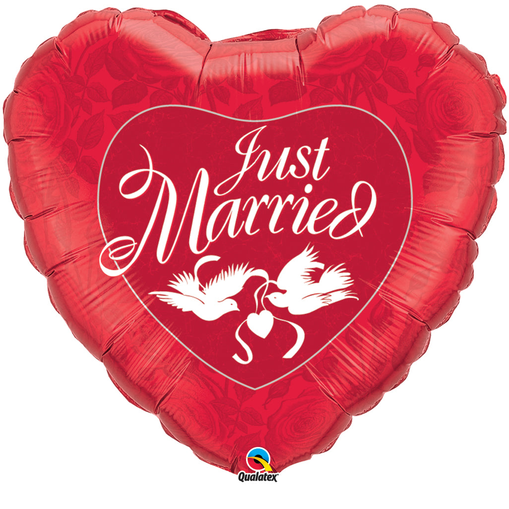 Just Married Red & White 36 inch Heart Foil