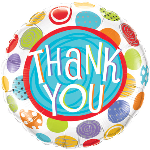 Thank You Patterned Dots 18 inch Round Foil