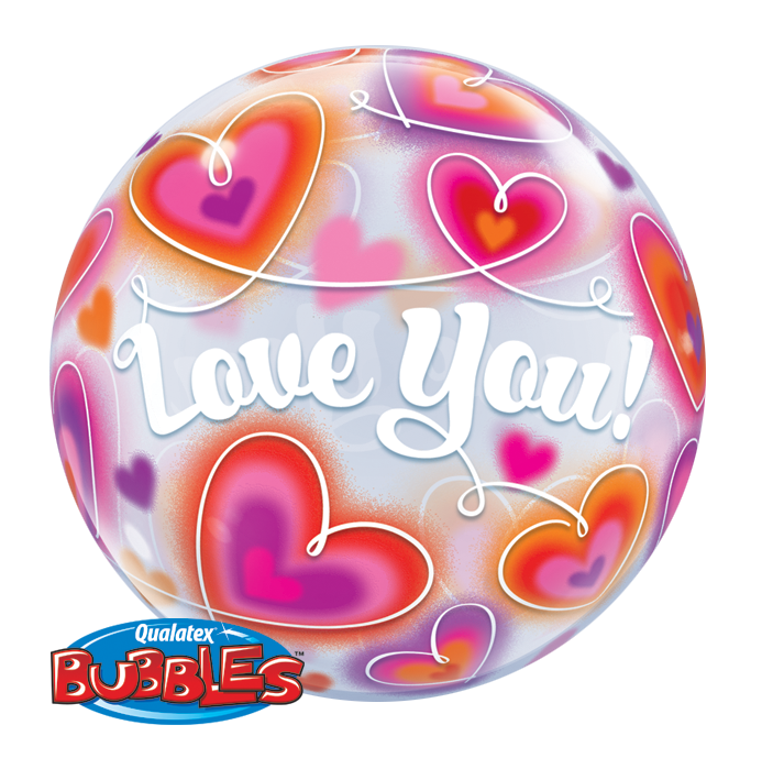 Love You Doodle Hearts 22 inch Bubble