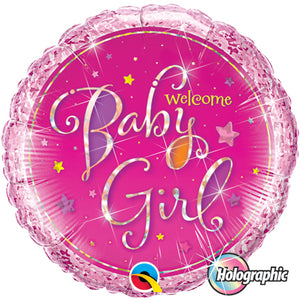 Welcome Baby Girl Stars 18 inch Holographic Round Foil