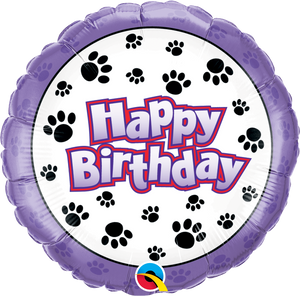 Birthday Paw Prints 18 inch Round Foil