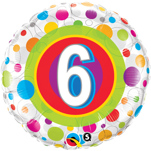 Age 6 Colourful Dots 18 inch Round Foil