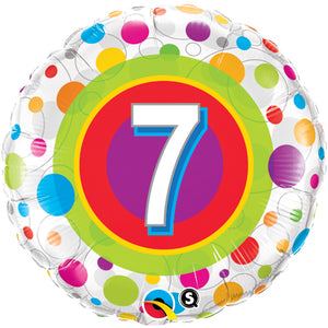 Age 7 Colourful Dots 18 inch Round Foil