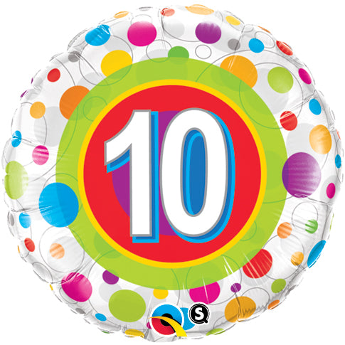 Age 10 Colourful Dots 18 inch Round Foil