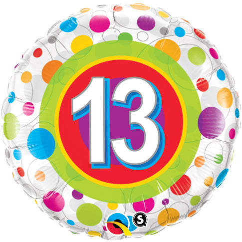 Age 13 Colourful Dots 18 inch Round Foil