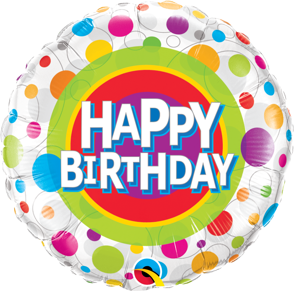 Happy Birthday Colourful Dots 18 inch Round Foil