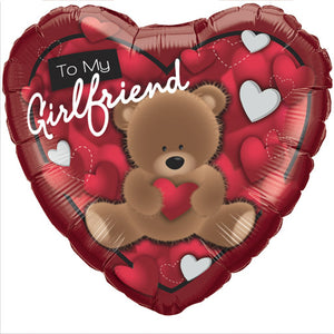 To My Girlfriend Bear 18 inch Heart Foil