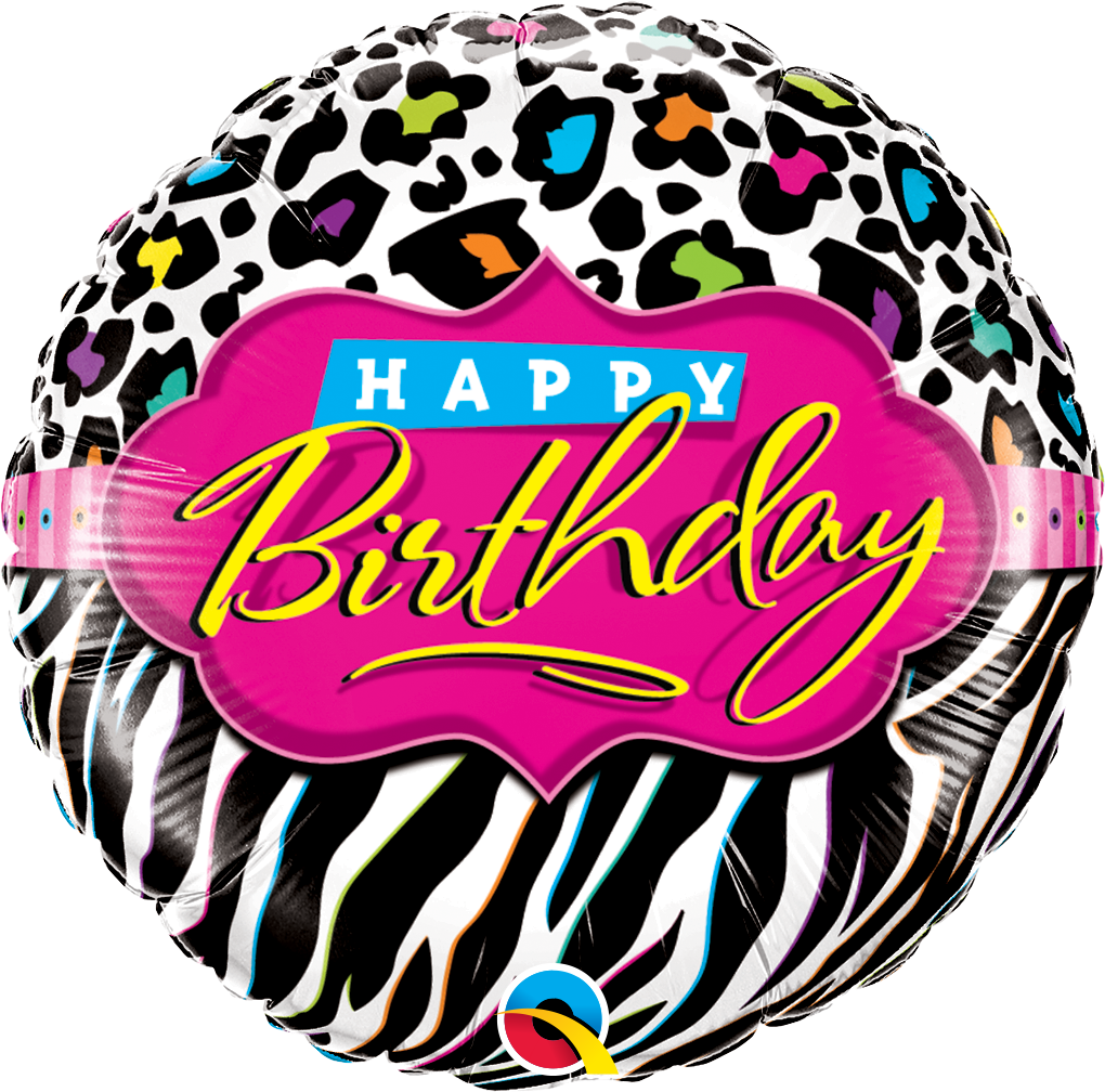 Birthday Leopard Zebra Patterns 18 inch Round Foil