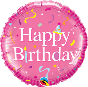 Happy Birthday Pink 18 inch Round Foil