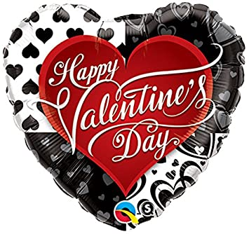 Valentine's Black Hearts 36 inch Heart Foil