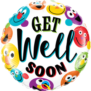 Get Well Soon Smileys 18 inch Round Foil