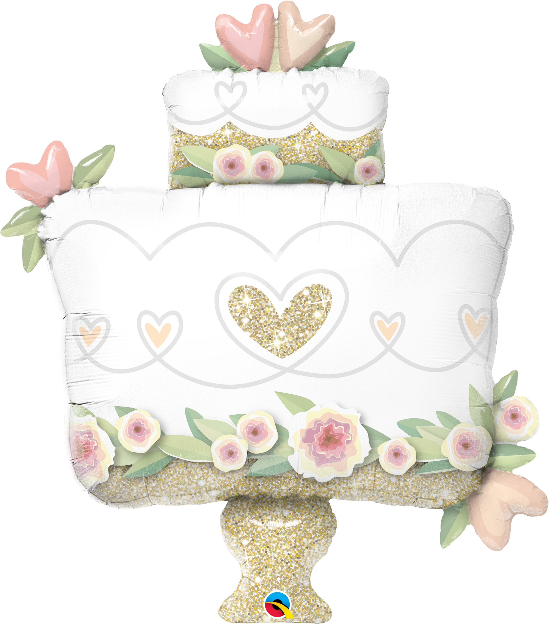 Glitter Gold Wedding Cake 41 inch Shaped Foil