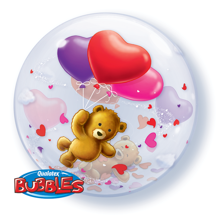 Teddy Bear's Floating Hearts 22 inch Bubble