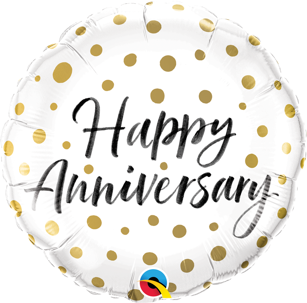 Happy Anniversary Gold Dots 18 inch Round Foil