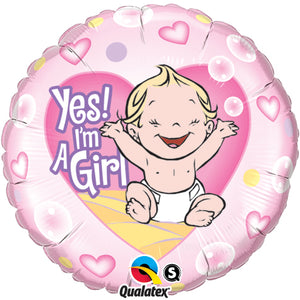 Yes! I'm a Girl 18 inch Round Foil