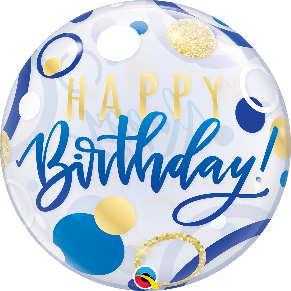 Birthday Blue & Gold Dots 22 inch Bubble