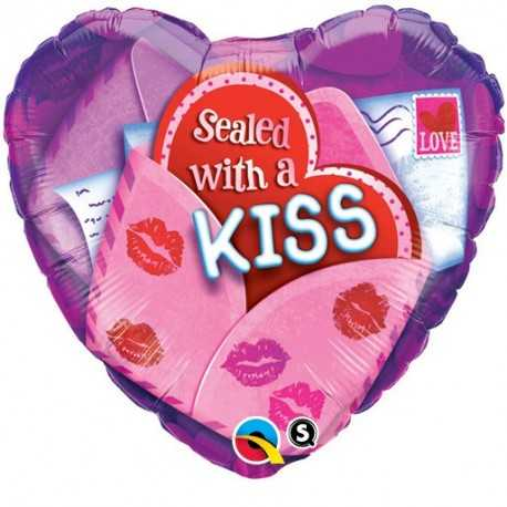 Valentine Sealed with a Kiss 18 inch Heart Foil