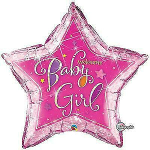 "36"" Foil Welcome Baby Girl Stars"