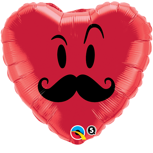 Mr Moustache Smiley 18 inch Heart Foil