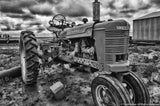 Black and White Tractor Art Print