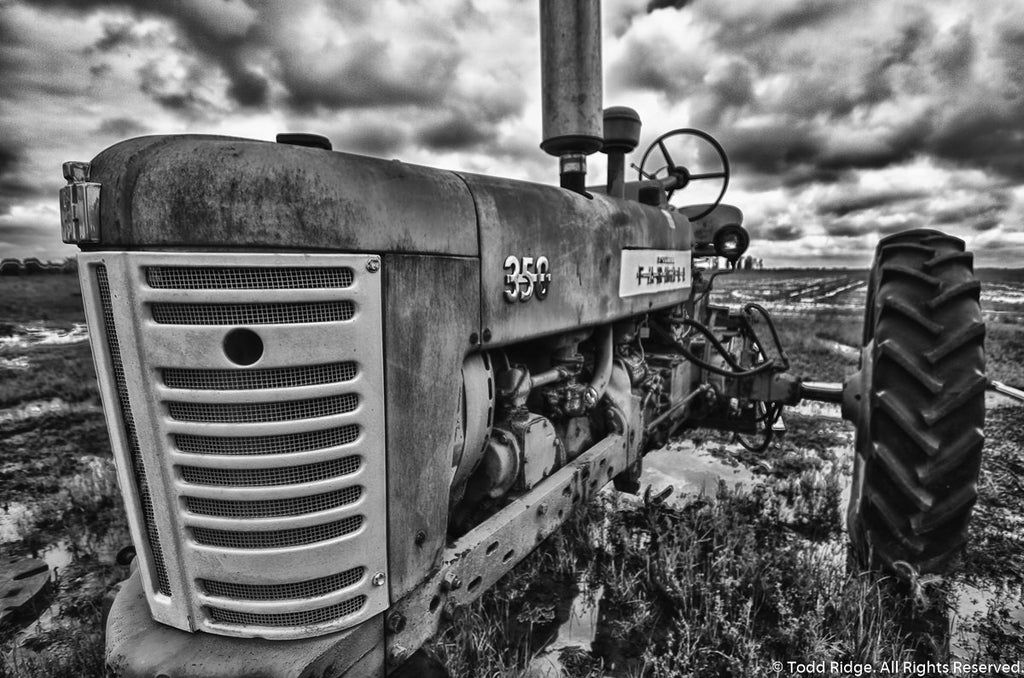 Black and White Tractor Wall Art
