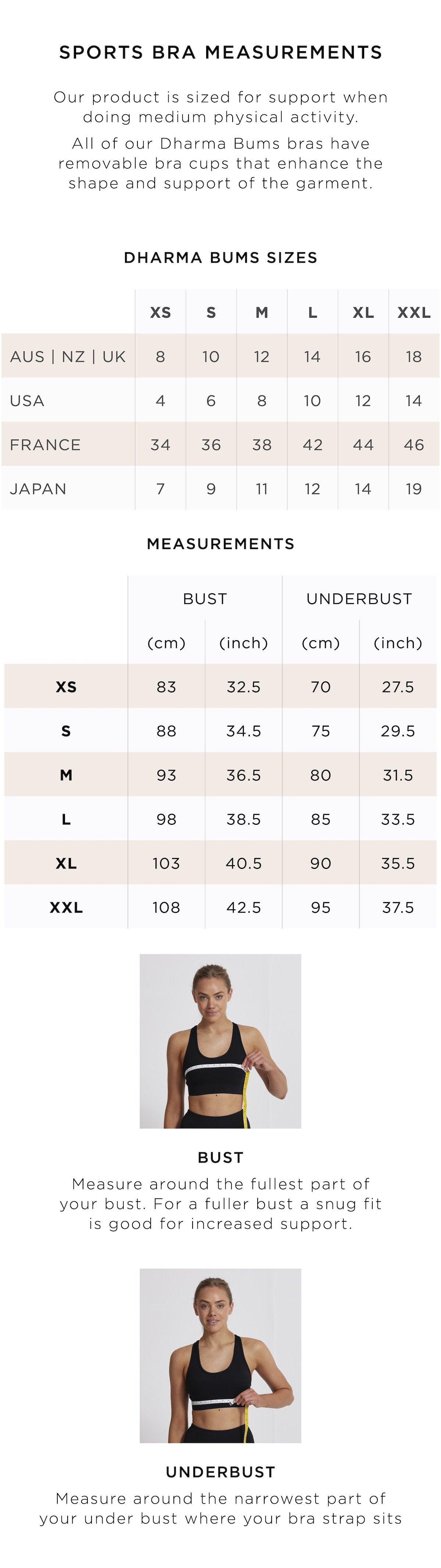 Size Guide - Sports Bras