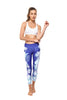 Hibiscus Blue High Waist Printed Yoga Legging - 7/8