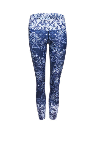 Java Blue High Waist Printed Yoga Legging - 7/8