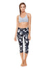 Dark Blooms High Waist Printed Yoga Legging - Crop