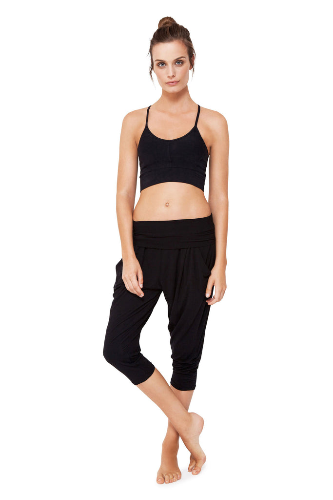 Black Harem Crop Pants