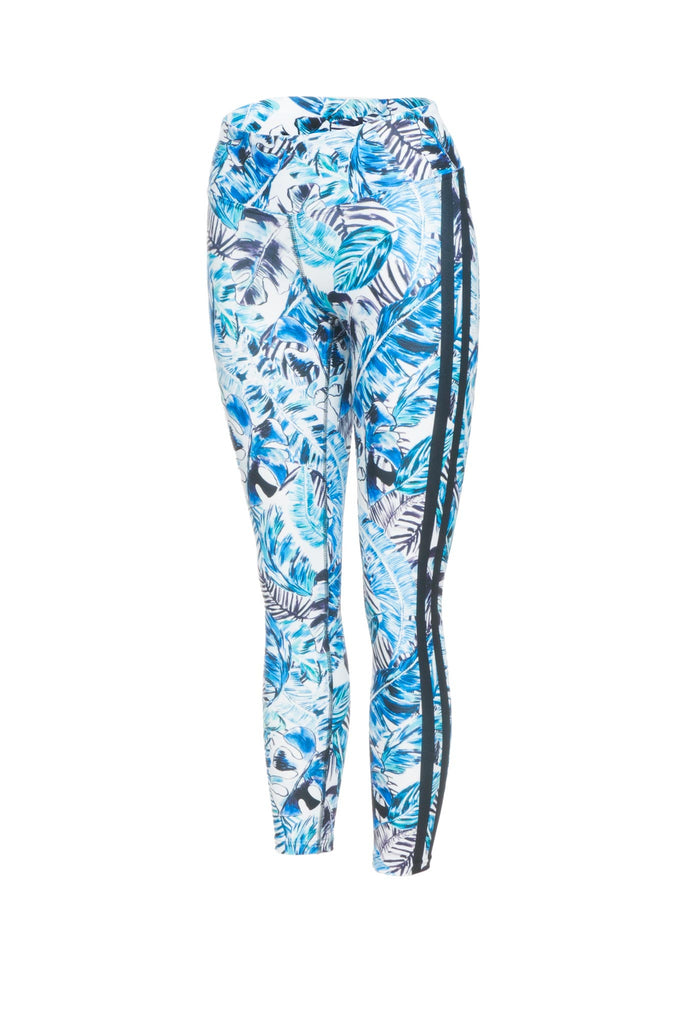 Blue Rainforest High Waist Printed Yoga Legging - 7/8
