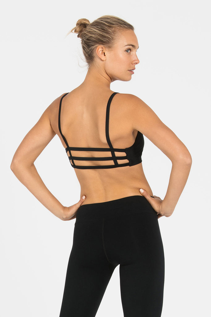 Barre 3 Strap Sports Bra - Black