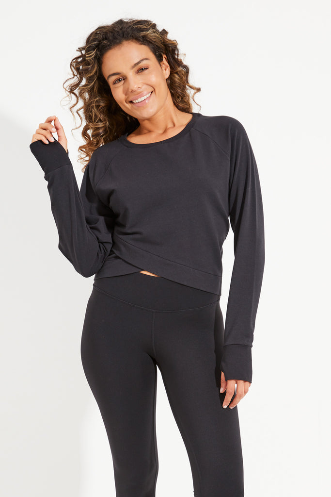 Arcadia Crop Sweat - Black