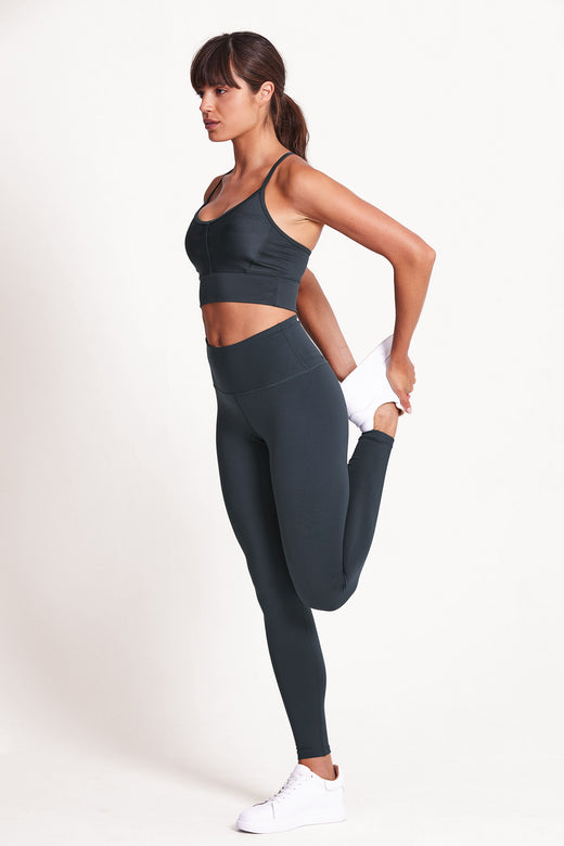 High Waisted Wonder Luxe Plain Legging Full Length - Deep Ocean