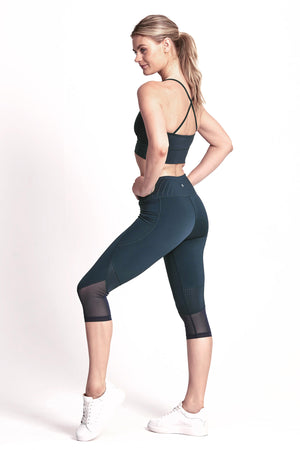 Impulse Crop Legging - Deep Ocean