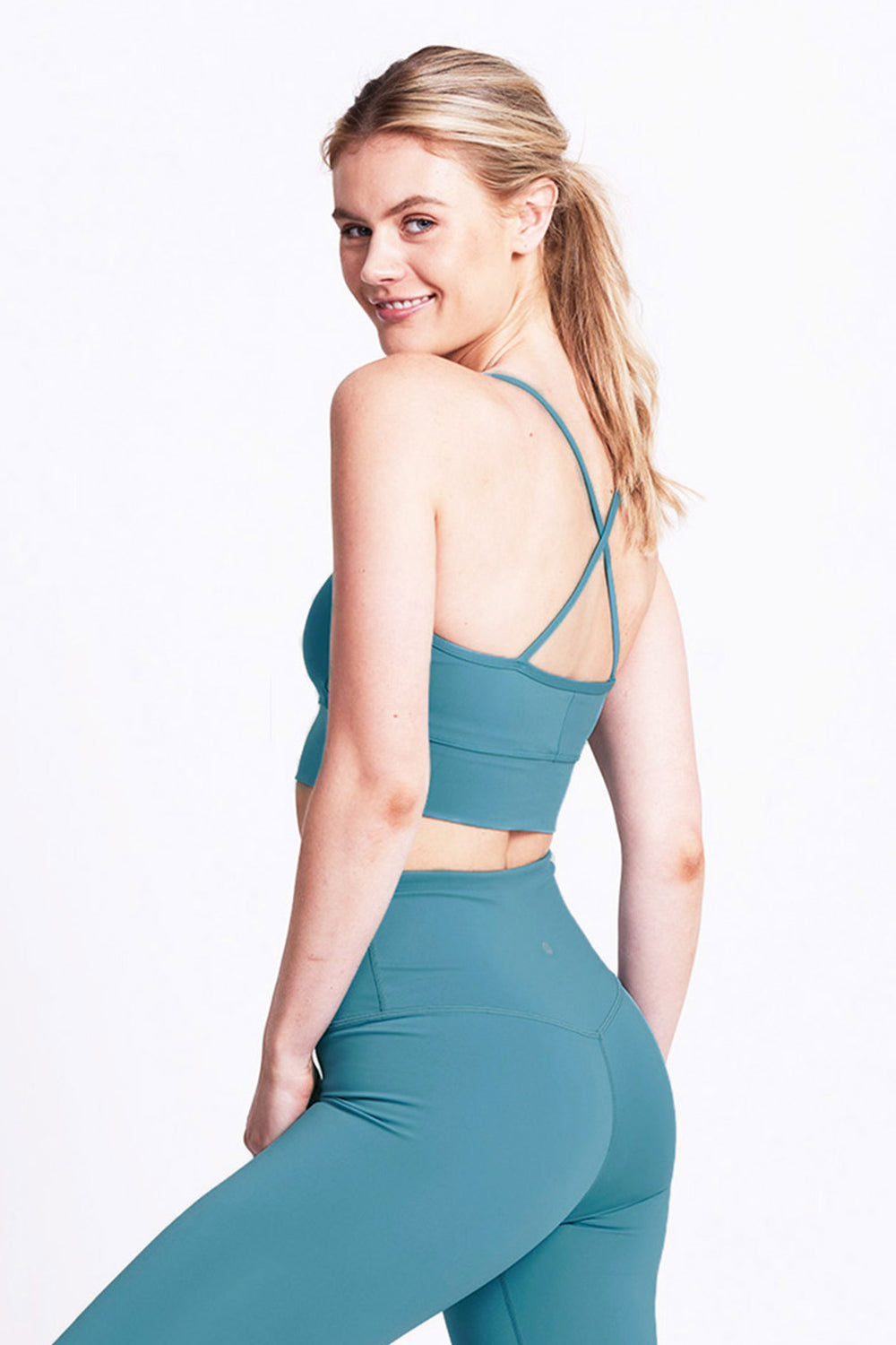 Ellis Crop Bra - Mineral Teal