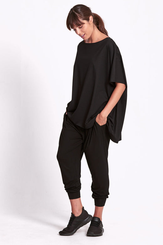 Oversized Drape Tee - Black
