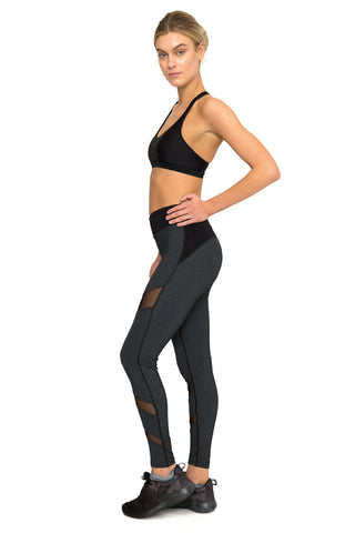Charcoal Marl Front Mesh Panel Activewear Legging - Full Length