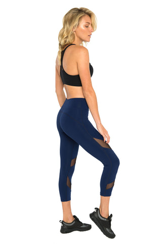 Navy Front Mesh Panel Activewear Legging - 7/8