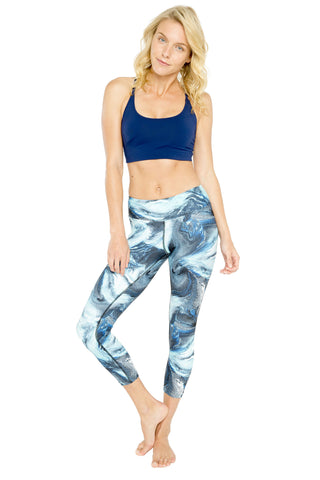 Aqua Marble High Waist Printed Yoga Legging - 7/8