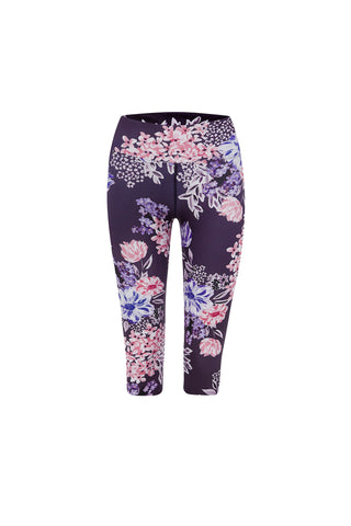 Crafted Floral High Waist Printed Legging - Crop