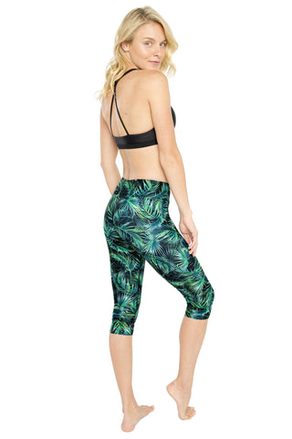 Tropical Night High Waist Printed Yoga Legging - Crop