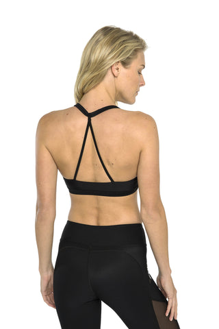 Triangle Back Sports Bra - Black