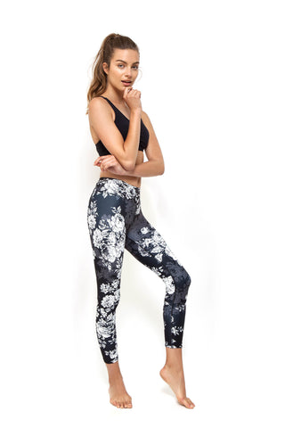 Vintage Rose High Waist Printed Yoga Legging - 7/8