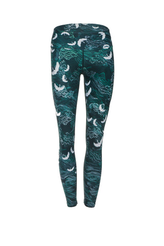 In Flight Green Standard Waist  Yoga Legging - 7/8 Length