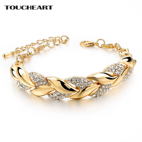 Gold color Leaf Crystal Bracelets