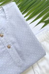 Sky Polka Dotted Cotton Kurta