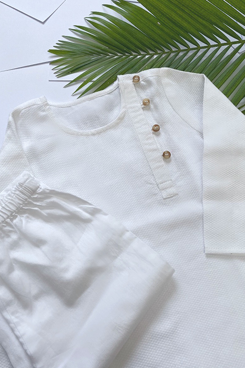 Veer White Cotton Kurta