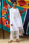 Maya Mirror Work Jacket & Slip Kurta - White
