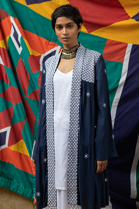 Maya Mirror Work Jacket & Slip Kurta - Navy